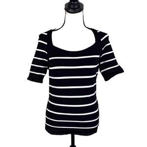 White House Black Market Black Striped Ribbed top